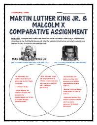 Mlk Vs Malcolm X Venn Diagram Civil Rights Martin Luther King And Malcolm X Comparative Venn Diagram