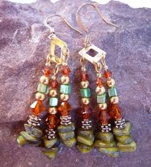 green stone with swarovski indian red crystal chandelier earrings