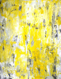 grey painting picking around and yellow abstract art by red blue