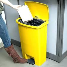 yellow kitchen trash can step trash can gallon slim resin yellow front step on trash can