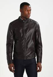 faux leather jacket dark brown