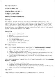 Resume Templates: Graduate Research Assistant