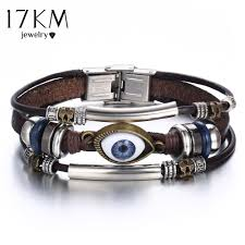 17km punk vintage design turkish eye spike leather bracelet for men women wristband multilevel geometrical uni bangle jewelry personalized charm bracelet