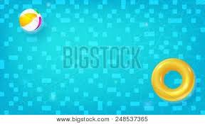 swimming pool beach ball background. Horizontal Pool With Swimming Ring, Beach Ball Floating In Blue Water.  Summer Concert For Travel Events. Waves Flowing Ripple. Vector Background