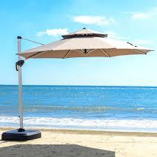 striking 11 foot offset patio umbrella hampton bay 11 ft led offset patio umbrella in sunbrella