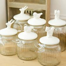 Decorative Kitchen Shelf Kitchen Accessories White Carved Ceramic Decorative Canisters