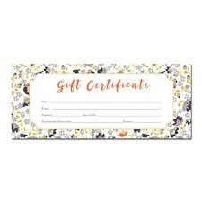 Homemade Gift Vouchers Templates Delectable Floral Print Blank Gift Certificate Premade Gift Certificate