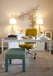 View in gallery vintage inspired yellow and blue cozy home office furniture