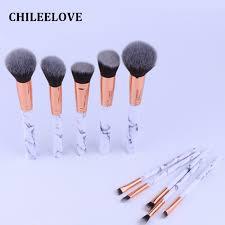 chileelove newest 10 pcs set marble stripe makeup brushes kits blush bulk powder eye shadow