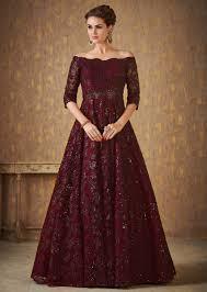 Off Shoulder Designer Suits Dark Maroon Off Shoulder Gown Adorned In Embossed Thread And Sequin Embroidery Online Kalki Fashion