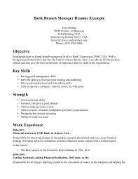 Bank Manager Resume Template Resume Builder