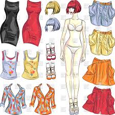 Clothes Template Cute Dress Up Paper Doll Template Of Girls Body And Set Of