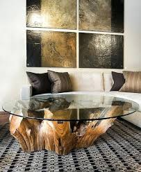 tree trunk coffee table living room with white tufted sofa and tree trunk coffee table with tree trunk coffee table
