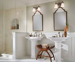 country bathroom lights. Beautiful White Country Bathroom Decorating Ideas Showing Off F Double Washbasin By Pedestal And Decorative Two Bath Lights Kicher Bathroo