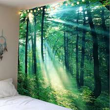 sunlight forest wall hanging tapestry green w79 inch l59 inch
