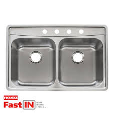 franke fast in 33 5 in x 22 5 in double basin stainless steel
