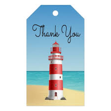 Summer Gift Tags Nautical Thank You Lighthouse Wedding Beach Summer Gift Tags
