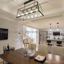 loft pendant lamp retro american industrial black iron rectangular chandelier living room dining room office light