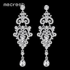 2018 mecresh crystal chandelier long earrings silver color rhinestone big hanging dangle earrings wedding engagement jewelry eh189 from jiekeyi20170213