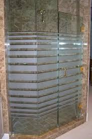 glass shower doors etched glass modern decor rectangles pattern expanding bands sans soucie