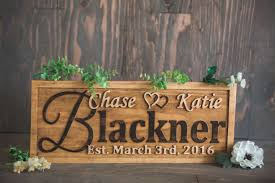 personalized family name sign wedding gift custom carved wooden signs anniversary gift wood plaque