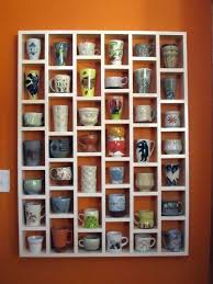 wooden shelving unit with cubbies coffee mug shelf