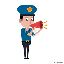 Graphic Design Office Adorable Cute Police Officer Talking With Bullhorn Vector Illustration