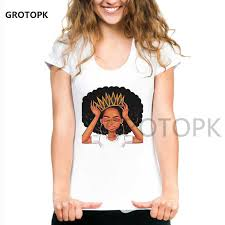 <b>Melanin Poppin Female</b> T shirt Summer Short Sleeve Aesthetic ...