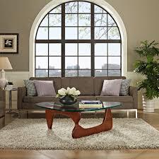 modern cherry wood and triangle glass noguchi inspired coffee table modern noguchi coffee table base