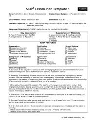 Siop Lesson Plan Template 1 Siop Lesson Plan Fill Online Printable Fillable Blank Pdffiller