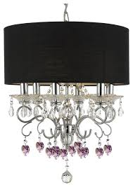 silver mist crystal drum shade chandelier with pink crystal hearts