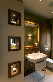 recessed lighting for bathroom. accent lighting ideas bathroom transitional with niche wood trim dark cabinets mirror back recessed for