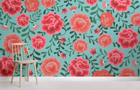 Flower Pattern Wallpaper Custom Blue Mexican Flower Wallpaper MuralsWallpaper