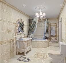 3d Bathroom Tiles Modern Bathroom Interior With Tiles And Mirror 3d Rendering