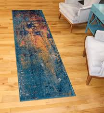 amer rugs manhattan orange navy pink yellow ivory blue runner area rug man 41 run