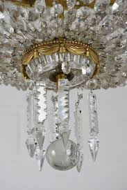 antique hollywood regency style brass and crystal basket chandelier