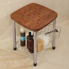 Image of: Teak Shower Stool Shelf