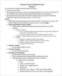 Example Lab Report Chemistry