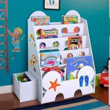 kids bookcase bookshelf book shelf rack toys storage organizer sittable drawer