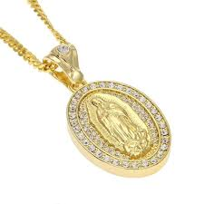 whole religious virgin mary pendant necklaces mens oval charm gold plated chains necklace full diamond gold silver necklaces jewelry lover gift