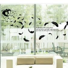 diy black angel feather wall sticker art decal mural lucky bedroom
