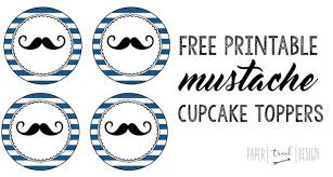 Free Printable Mustache Cupcake Toppers Paper Trail Design