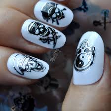 Nail Art Skull Design Us 0 9 16 Off Halloween Design Zombie Pirates Skull Bone Nail Art Transfer Foils Stickers 100cmx4cm Polish Glue Nail Decal Easy Diy Sy676 In
