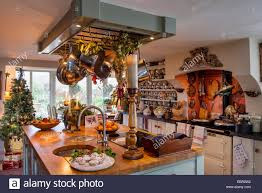Kitchen Christmas Cosy Country Kitchen With Aga Butchers Island Dresser And