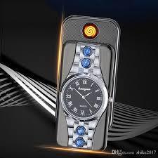 Creative <b>Watch</b> Lighter <b>Charging Metal Windproof</b> USB Electronic ...