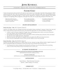 Pastry Chef Resume Objective Examples Academic Background Of Pastry