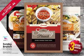 sunday brunch flyer templates flyer templates on creative market
