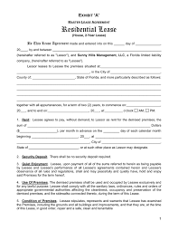 1 Page Rental Agreement Form Ideal Florida Residential Lease ...