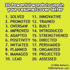 Words To Use In A Cover Letter Words To Use In Cover Letters