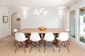 mediterranean dining room furniture. Farmhouse Table With Modern White Chairs Also Mediterranean Dining Room And Geometric Pattern Rug Plus Midcentury Pendant Lights Decorative Wall Sconces Furniture